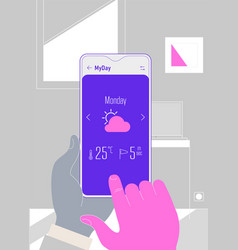 augmented reality weather forecast mobile app vector image