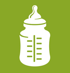 Baby bottle icon isolated on green background vector