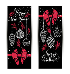 banners set new years toys hand drawn style on vector image