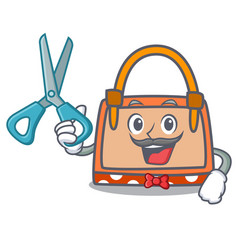 barber hand bag character cartoon vector image
