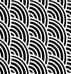 Black and white curved lines in a seamless pattern vector