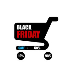 black friday sale sale poster with shopping cart vector image