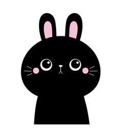 black rabbit buny hare silhouette icon cute vector image
