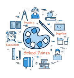 blue concept with school paints icon vector image