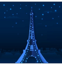 Blue cutout paper night Eiffel tower vector