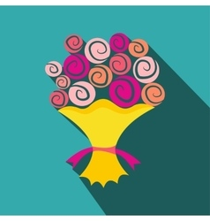 Bouquet of flowers flat icon vector image