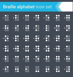 Braille alphabet icons isolated on dark background vector