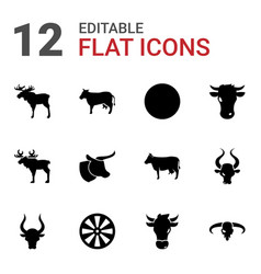 bull icons vector image