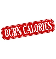 Burn calories red square vintage grunge isolated vector