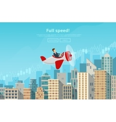 Businessman flying on airplane on career stairs vector