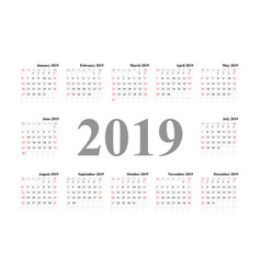 calendar template design 2019 vector image