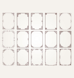 calligraphic frames borders corners ornate frames vector image