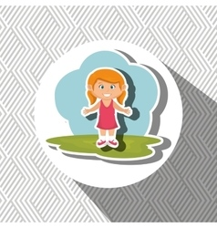 Cartoon girl meadow green vector