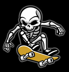 Cartoon of skull ride a skateboard vector