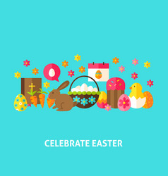 Celebrate easter greeting card vector