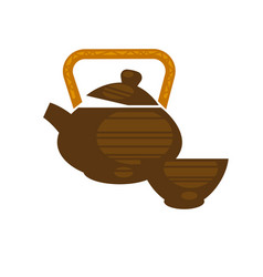 ceramic or clay teapot in chinese style vector image