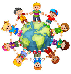 Children standing on globe vector