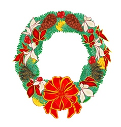 Christmas Wreath with pine cones and poinsettia vector image
