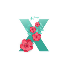 Color letter x with beautiful flowers vector