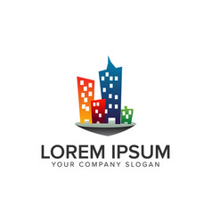 colorfull building town logo design concept vector image