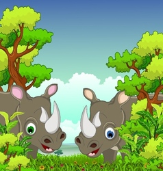 couple rhino cartoon with forest background vector image