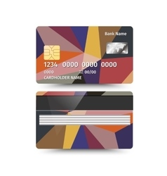 Credit Card two sides with Abstract design vector