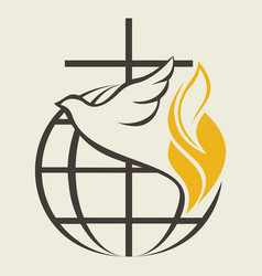 Cross and holy spirit vector