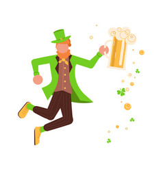 Cute cartoon leprechaun with mug of beer vector