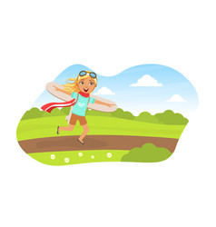 cute girl running with cardboard wings child vector image