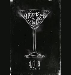 Daiquiri cocktail chalk vector