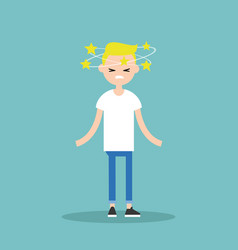 Dizziness conceptual young blond character with vector