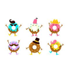 Donuts cartoon characters set humanized glazed vector