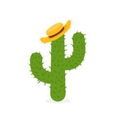 exotic cactus in straw hat hand drawn mexican vector image