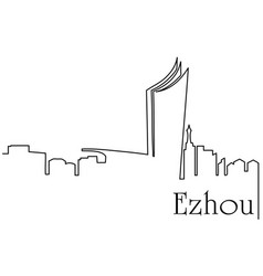 ezhou city one line drawing vector image