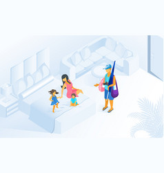 family summer vacation on resort isometric vector image