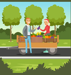 farmer woman selling vegetables from wooden cart vector image