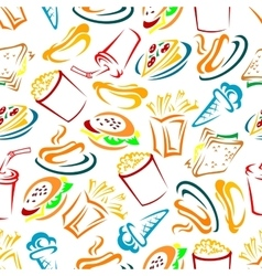 Fast food and drinks seamles pattern vector image