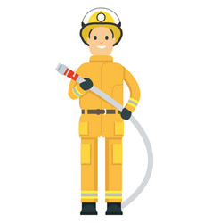 fire fighter on duty holding a hose vector image