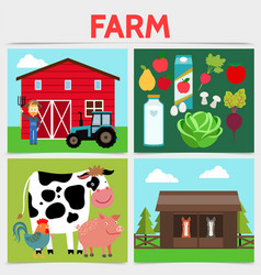 flat colorful farming square concept vector image