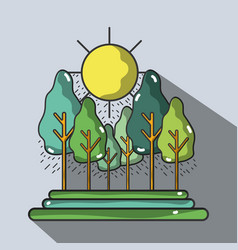 Forest with trees and sun vector