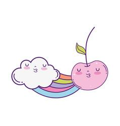 fresh cherry with cloud and rainbow kawaii vector image