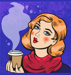Girl with coffee pop art comics vector