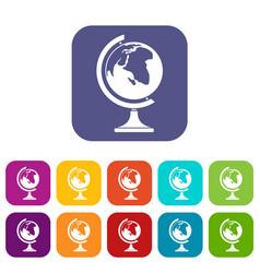globe icons set vector image