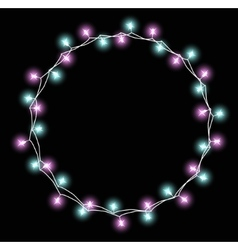 Glowing garland with small lamps Garlands vector image