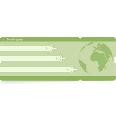 green template of boarding pass ticket vector image