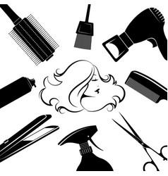 Hair care girl profile vector