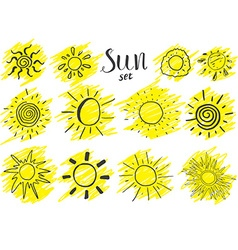 hand drawn set different suns sketch isolated vector image