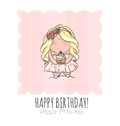 Happy Birthday card for girl cute little girl vector image
