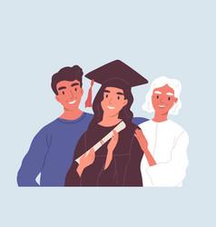 Happy graduated female student in graduation cap vector
