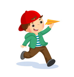 Happy kid playing with paper airplane vector